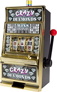 Trademark Gameroom Slot Machine Coin Bank – Electronic Realistic Mini Table Top Novelty Casino Toy with Lever for Kids & Adults (Crazy Diamonds)