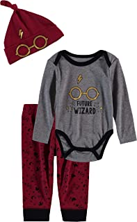 Infant Baby Boys 3 Piece Creeper with Pull on Pant and Matching Hat Printed Future Wizard