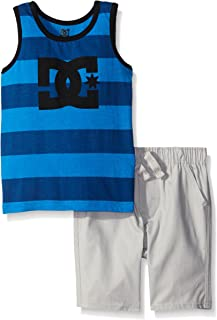 DC Apparel Boys' 2 Piece Jersey Tank Top with Poplin Plaid Woven Short Set
