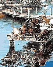 Pintar por Numeros para óleo para adultos niños pintura por Perro Animal Scenery The Pier- (40x50cm) -Marco de madera