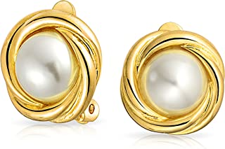Cable Dome White Simulated Pearl Clip On Earrings Non Pierced