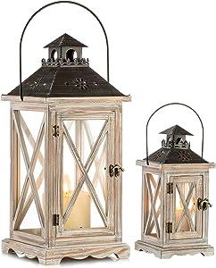 Vintage Wood Lantern Rustic Distressed - Floor Candle Holder Lantern Decorative for Farmhouse Decor Home Décor Shabby Chic Wedding Centerpiece Fireplace Mantel Patio Table Decoration, Size S+L