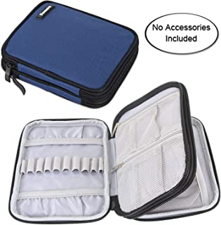 Damero Crochet Hook Case, Organizer Zipper Bag with Web Pockets for Various Crochet Needles and Knitting Accessories, Well Made and Easy to Carry, Medium, Dark Blue (No Accessories Included)