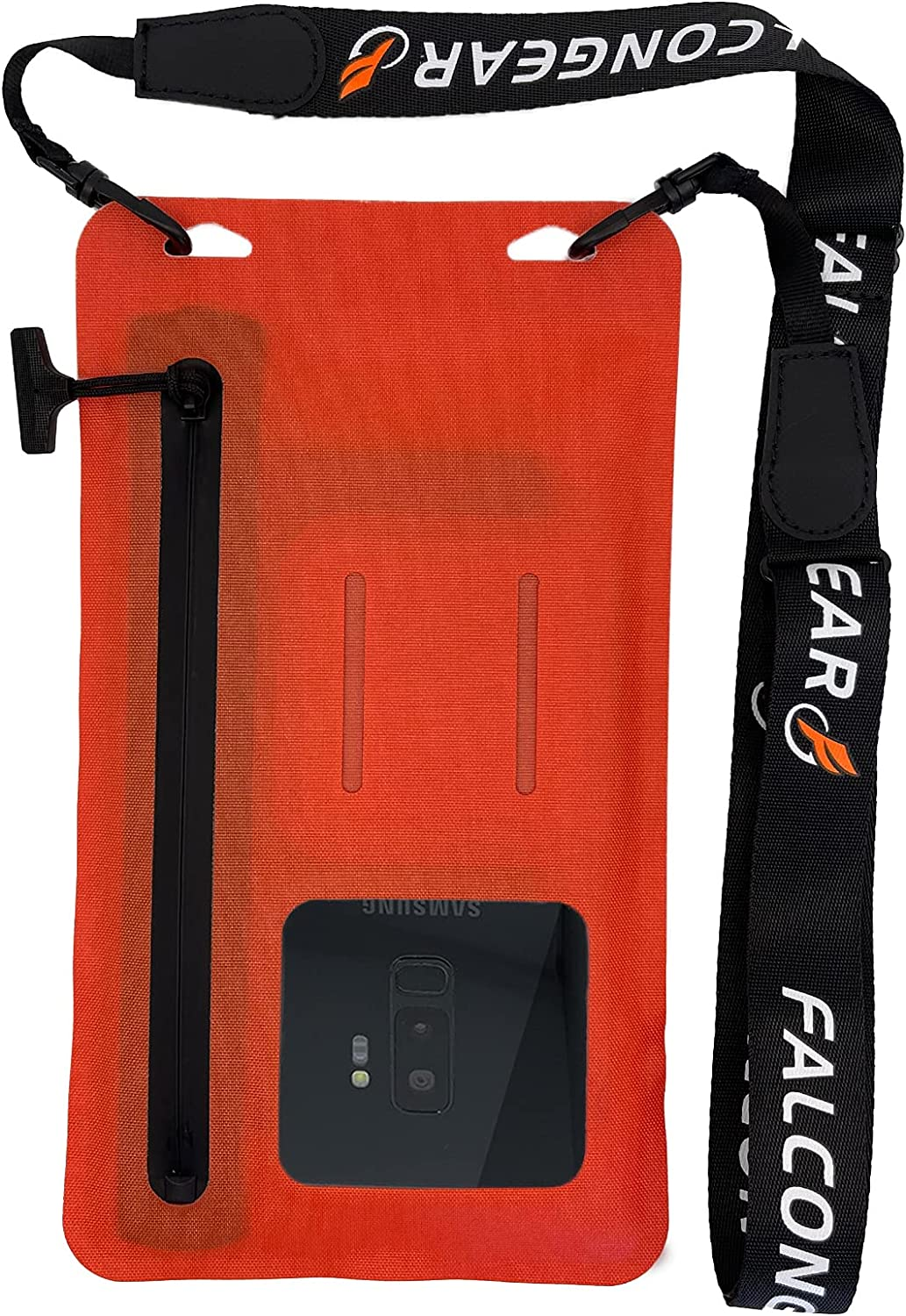 """FalconGear Floating Waterproof Phone Pouch Universal Waterproof Phone Case with Zipper & Adjustable Lanyard Cellphone Dry Bag for iPhone 12/11 Pro Max XR Galaxy S21/20 Ultra & Up to 7.5"""" (Orange-Red)"""