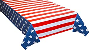 Iconikal Plastic Tablecloth Table Cover, American Flag, 54 x 108 Inch, 3 Pack