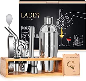 Lader Cocktail Shaker Set, 14-Piece Stainless Steel Bar Tool Set, Perfect Home Bartending Tool with Stylish Bamboo Stand and Bartending Book, Bartending Set Suitable For Families, Bars and Party