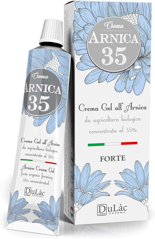 Dulàc Crema Arnica 50ml con 35% Árnica Montana Orgánica, Made in Italy, Arnica Crema Dolores Musculares y Articulaciones, Crema Efecto Frio Muscular, Arnica Gel-Crema