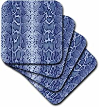 3dRose CST_20349_1 Blue Snakeskin Animal Print-Soft Coasters, Set of 4