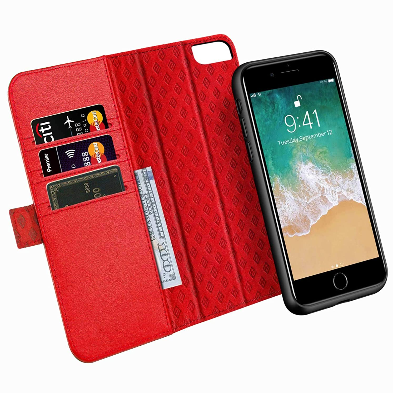 シティ姪ビタミンiPhone8 plus / 7 plus / 6 plus / 6s plus ケース 手帳型 分離型 本革 RFIDブロッキング サイドマグネット式 取り外し カバー 全面保護 スタンド機能 カード収納 耐汚れ 耐衝撃 財布型 ギフトボックス 5.5インチ 兼用(レッド)Red
