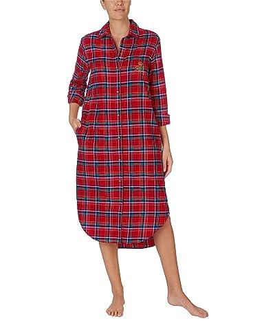LAUREN Ralph Lauren Brushed Twill Long Sleeve Notch Collar Ballet Sleepshirt (Red Plaid) Women