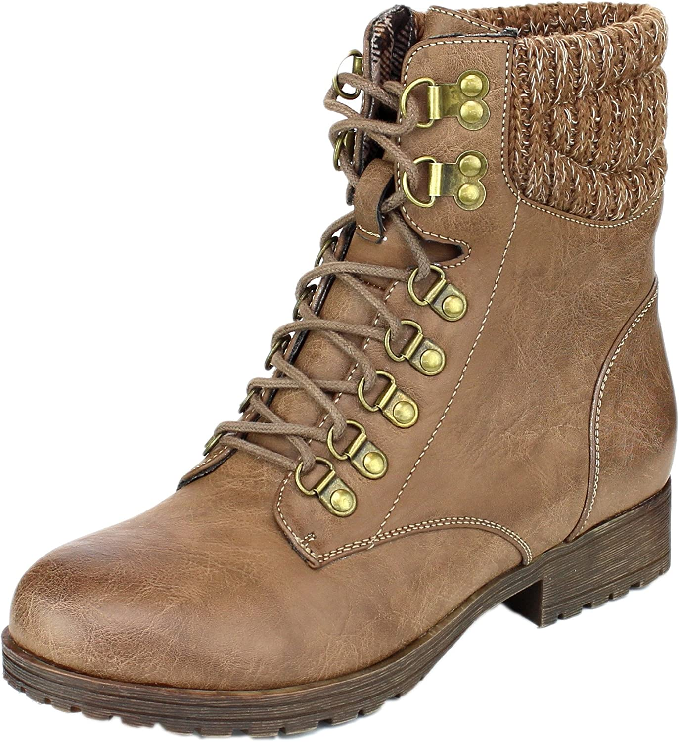 Refresh Women's Wynne-07 Knit Cuff Lace Up Combat Winter Boot