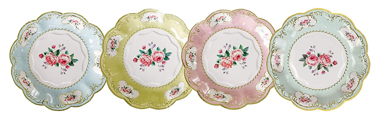 Paper Plates Disposable Plates Party Plates Wedding Plates for Wedding Reception Dessert Plates Vintage Floral 7