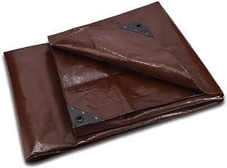 Super Heavy Duty Poly Tarp Cover Thick 16 Mil Brown Waterproof 100% UV Resistant Rip/Tear Proof Tarp w/Rustproof Grommets...