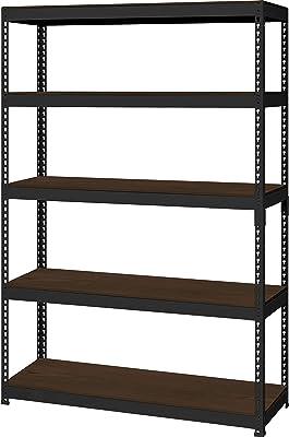 [ドリームウェア] スチールラック (メタル&ウッド) 幅121×奥行41×高さ180cm 棚板リバーシブル ローボードにもなる 組立品 ブラック MK-825NBK