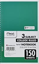 Mead Spiral Notebook, 3 Subject, College Ruled Paper, 150 Sheets, 9-1/2