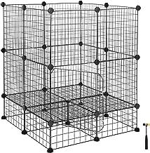SONGMICS Pet Playpen Includes Zip Ties, Upgrade Customizable Animal Fence with Door, Metal Wire Pen Fence for Small Animals, Bunnies, Rabbits, Puppy Guinea Pigs, for Indoor Use ULPI03H