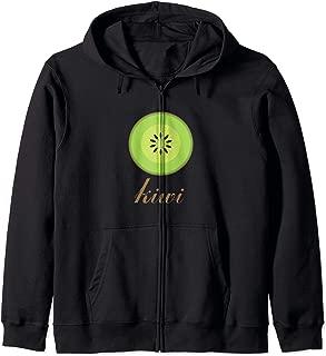 Cartoon Kiwi Fruit Print Zip Hoodie