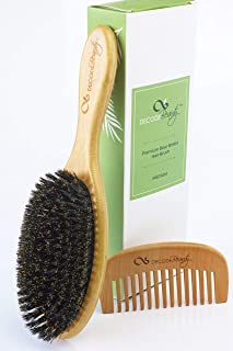 100% Pure Boar Bristle Hair Brush - For Styling Fine and Short hair, Gentle Brushing Promotes Natural Oils for A True Shine