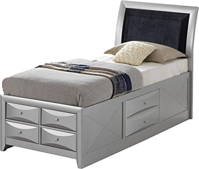 fff05582cb3 Amazon.com  Hillary Eastern King Bookcase Bed with Underbed Storage ...
