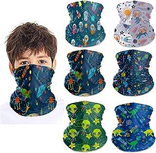 6Pcs Kids Cute Neck Gaiter Face Mask Scarf Face Covering Bandanas Headband Balaclavas Wind UV Protection for Boys Girls