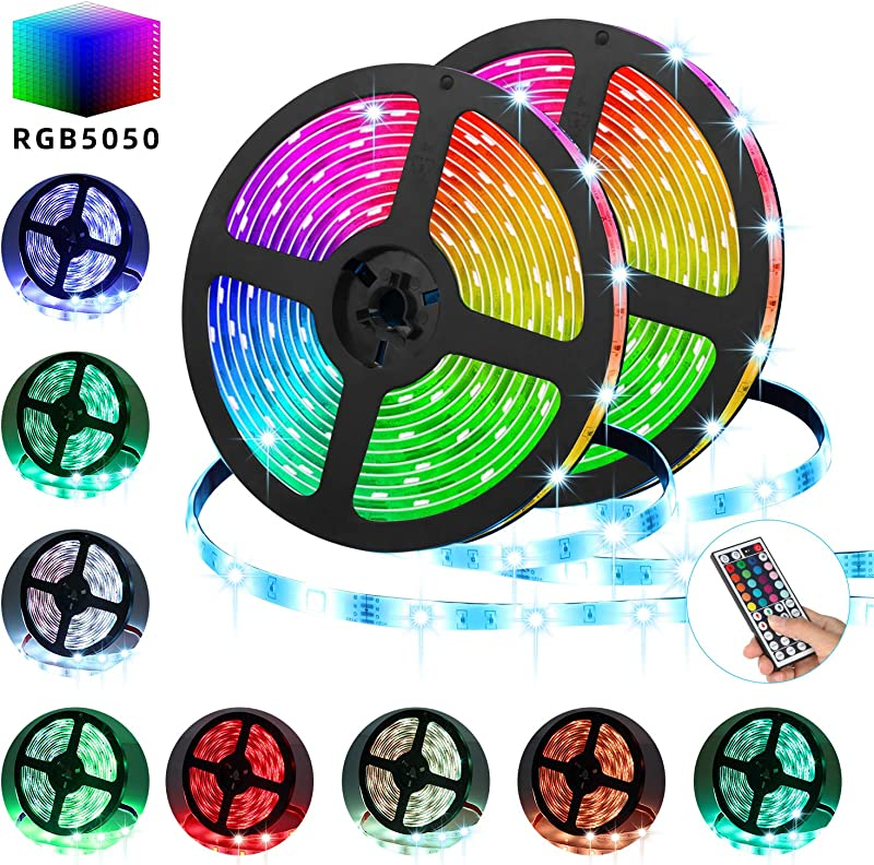 TATUFY LED Strip Lights 32 8FT 10M 300 LED SMD5050 RGB Strip Lights IP65 Waterproof Flexible Tape Light Kit Rope Lights Color Changing With 44 Keys IR Remote Controller 12V 5A Power Supply