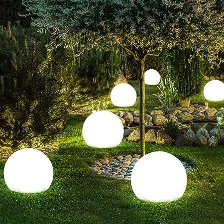 8er Set LED Solar Außen Steck Kugel Lampen Veranda Garten Erdspieß Leuchten weiß