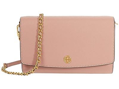 Tory Burch Robinson Chain Wallet (Pink Moon/Rolled Brass) Bill-fold Wallet