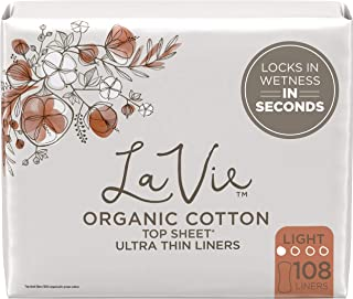 La Vie Organic Cotton Top Sheet* Panty Liners, Ultra Thin, 108 Count (4 Packs of 27) (Packaging May Vary)