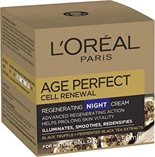L'Oréal Paris Age Perfect Cell Renewal Revitalising Anti-Ageing Night Cream for Mature Skin with Black Truffle, 50ml