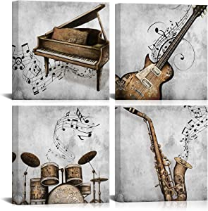 LoveHouse 4 Panel Music Canvas Wall Art Guitar Piano Saxophone and Drum Pictures Stretched Canvas Framed Art Black White Vintage Music Wall Decor for Modern Home Bedroom Living Room 12x12inchx4pcs