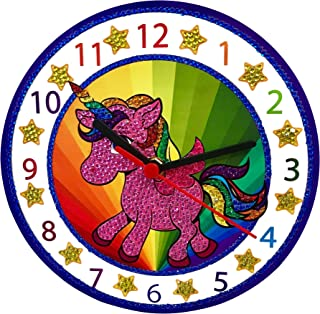 Make Your Own Clock Kit - Unicorn Gifts for Girls and Boys - Toys Unicorn Arts and Crafts for Girls and Boys - Paint by Numbers Diamond Painting Kits for Kids - Kids Crafts and Art Sets (Bilingual)