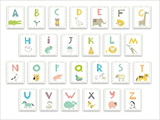 Kids Wall Art Woodland Decor, Educational Alphabet Wall Cards for Classroom, Nursery and Bedroom - Set of 26 5x7in Letter ...