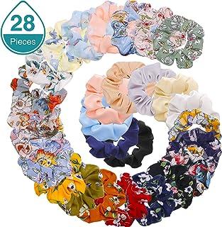 Bememo Scrunchies Hair Ties Hair Elastics Scrunchies Soft Elegant Hair Bands Headbands with Bag (28 Colors of Chiffon)
