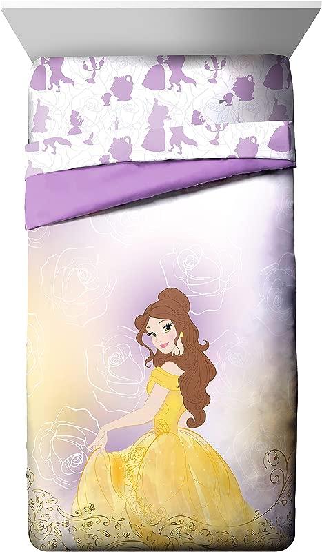 Jay Franco Belle En Rose Beauty And The Beast Twin Full Comforter Purple