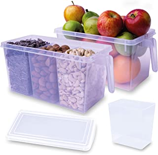 iumano Set of 2 Kitchen Oragnizer Storage Containers with 6 removable compartments, Fridge Organisers, Storage Cabinet Org...