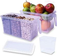 صندوقي تخزين بلاستيكيين للمطبخ مع 6 حجرات تخزين مستقلة قابلة للازالة، لتنظيم الثلاجة وخزانة المطبخ والعلب الكبيرة والتوابل...