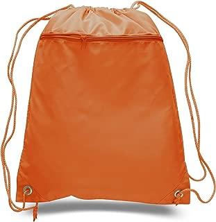 "Polyester Drawstring Bulk Backpack with Zipper, 15 Drawstring Cinch Bag With Zipper Pocket (15Pcs 14""w x 17.5""h)"