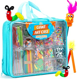Giant Art Case Set of 1,600+ Pc.– Arts and Crafts Supplies for Kids 6+ – DIY Projects Case Filled with Pom Pom Box Craft K...