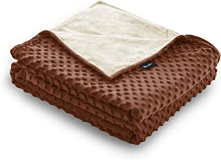 ZonLi Minky Dot Duvet Cover (60''x80'' Cream/Chocolate), Queen Size Removable Duvet Cover for Weighted Blanket