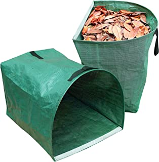 CREPRO 2 Pack 53 Gallons Reusable Garden Bags Large Yard Dustpan-Type Garden Bag for Collecting Leaves Reusable Heavy Duty...