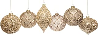 Adornable Christmas Ornaments Luxury Glass Set of 6 (Gold/Bronze)