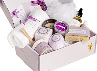 Spa Gift Set, Handmade Lavender Gift Box, Relaxing 9 pcs Package for Women, Including Soap Bar, Facial Mask, Shower Streamer, Body Oil, Bath Bomb, Lip Balm, Towel, Soy Candle & Sponge by Lizush
