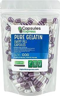 Capsules Express- Size 000 Purple Pearl and White Pearl Empty Gelatin Capsules - Kosher - Pure Gelatin Pill Capsule - DIY ...