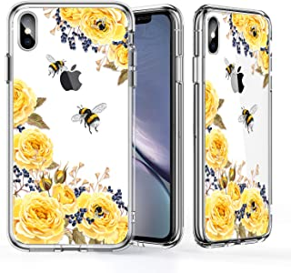 KINFUTON iPhone Xs Max Case 6.5 inch,iPhone Xs Max Clear Case for Women Girls Soft Silicone Rubber TPU Plastic Cover Slim Fit Protective Phone Case for iPhone Xs Max Bee and Flowers