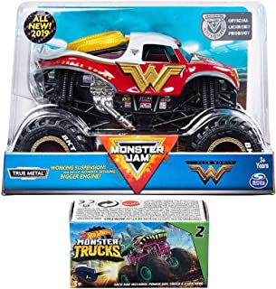 Hot Wheels Wonder Monster Action Jam 2019 Giant Official Woman Super Hero Pickup Blind Box Series Mini Monster Truck with Power Key Launcher 2 Items Bundle