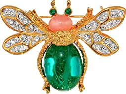 Gold Two-Tone Rhine Crystal Emerald Cabochon Body Pink Cab Head Bee Pin