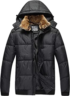 Men's Hooded Winter Jacket - Outdoor Thick Down Jacket with Removable Faux Fur Collar Hood, Black & White