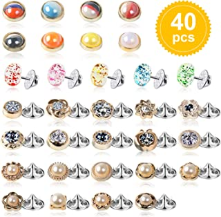 40Pcs Women Shirt Brooch Buttons Safety Cover up Buttons Pin, 4 Styles