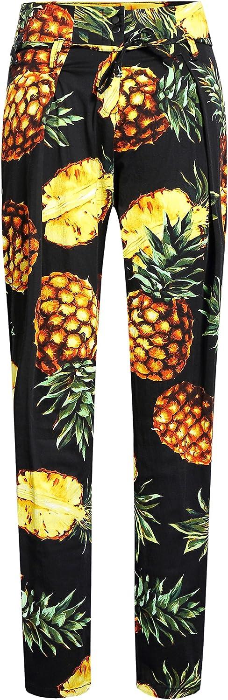 SSLR Women's Pineapples Relaxed Fit Casual Slim Leg Hawaiian Pants