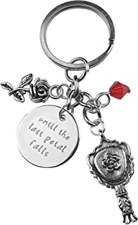 Art Attack Silvertone Rose Until The Last Petal Falls Red Bead Mirror Bag Charm Pendant Keychain
